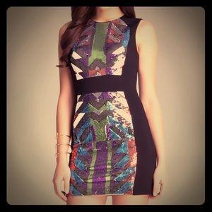 Bebe sequin geo pattern dress